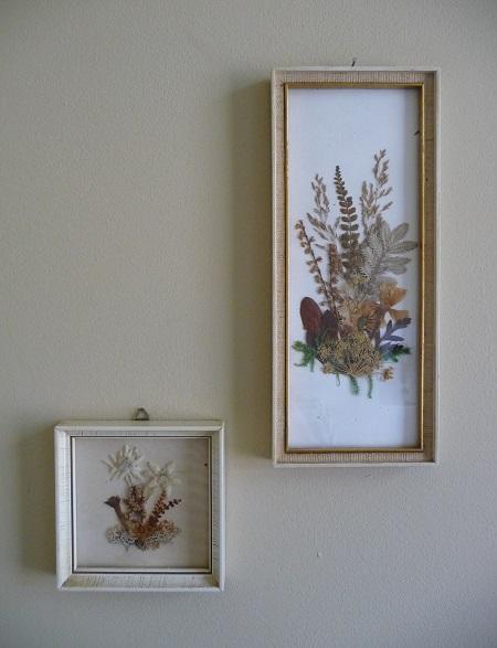 vintage lijstjes met droogbloemen 1