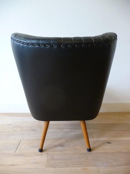 vintage coctailstoel zwart 5