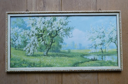 vintage lijst met afbeelding boomgaard