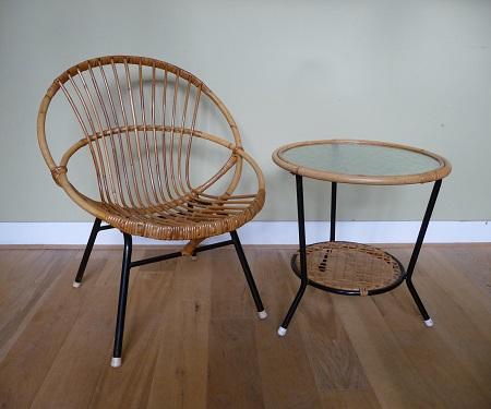 jaren 50 rotan stoel en bijzettafel Rohé Noordwolde 1