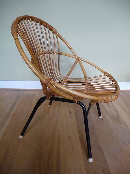 jaren 50 rotan stoel en bijzettafel Rohé Noordwolde 3