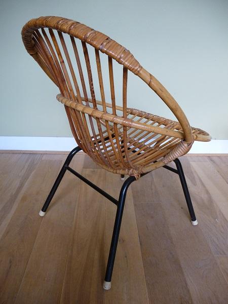 jaren 50 rotan stoel en bijzettafel Rohé Noordwolde 4