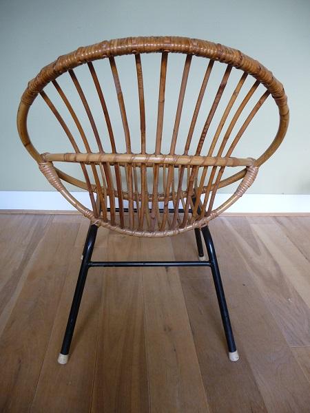 jaren 50 rotan stoel en bijzettafel Rohé Noordwolde 5