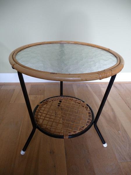 jaren 50 rotan stoel en bijzettafel Rohé Noordwolde 6