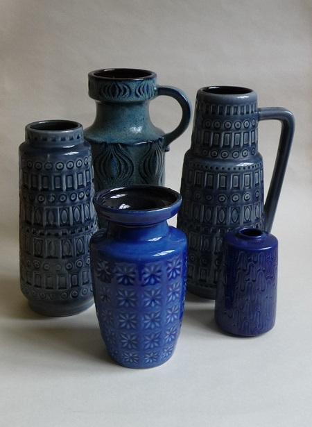 diverse blauwe Scheurich vazen 1