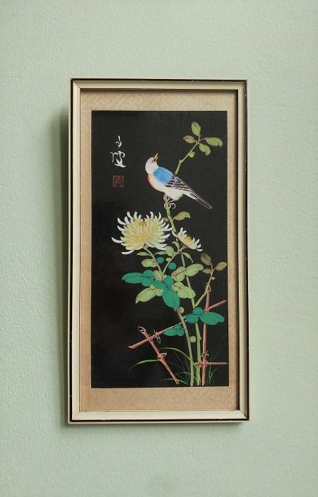 vintage lijst met Chinese geschilderde prent 1